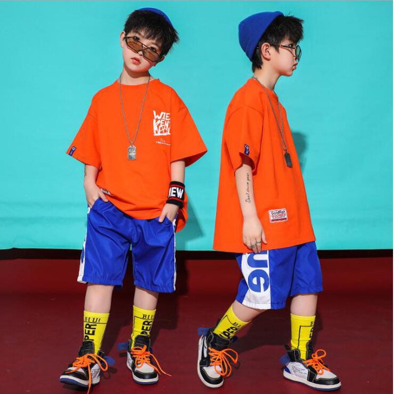 Kids Hip Hop Outfits Tshirt Short Pants Girls Sportswear Jazz Dance Wear Costumes Suits Boys Ballroom Stage Dancing Clothes