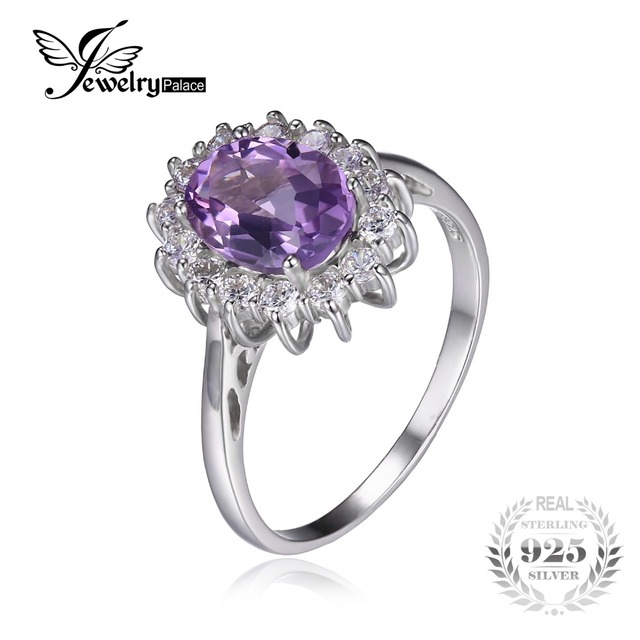 JewelryPalace Princess Diana William Kate Middleton's 1.8ct Natural Amethyst Engagement Halo Ring 925 Sterling Silver Jewelry