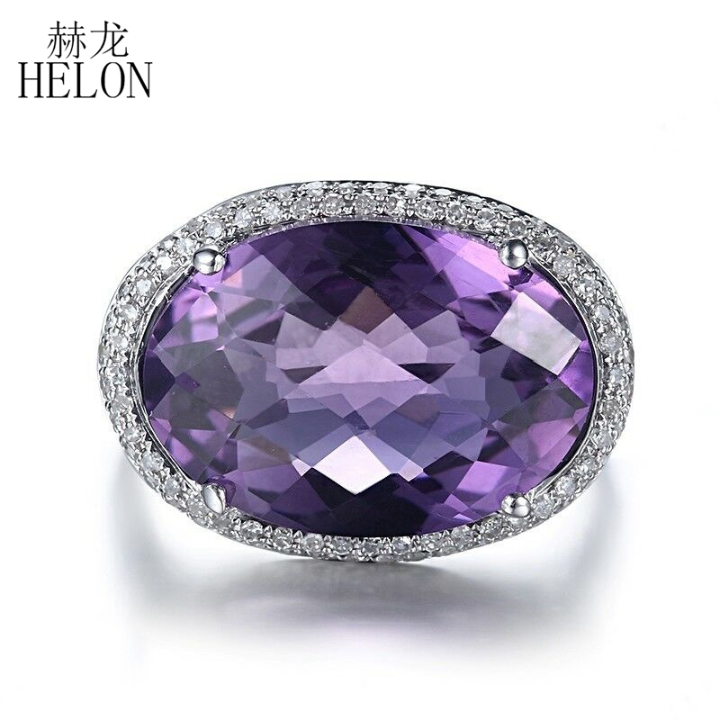 HELON Real 14K White Gold Certified Oval 9ct Genuine Natural Amethyst Diamond Ring Women Wedding Fine Jewelry Ring Prong SettingHELON Real 14K White Gold Certified Oval 9ct Genuine Natural Amethyst Diamond Ring Women Wedding Fine Jewelry Ring Prong Setting