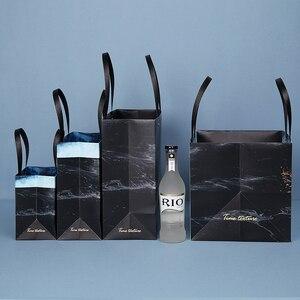 Image 3 - Sac cadeau marbré exquis en papier, sac cadeau daffaires Simple, sac pour les courses en papier, articles demballage, 1 unité