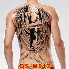 48*34cm large tattoo stickers 20 new designs Dark angel fish wolf buddha temporary flash tattoos full back body paint cool men(China)