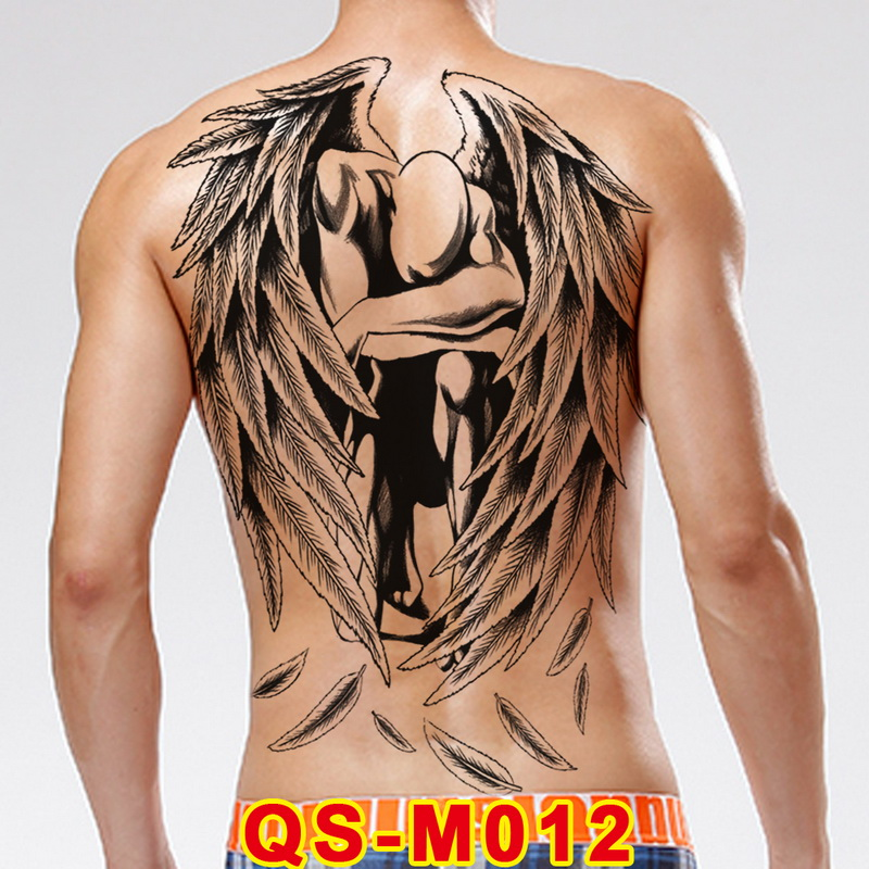 48*34cm Large Tattoo Stickers 20 New Designs Dark Angel Fish Wolf Buddha Temporary Flash Tattoos Full Back Body Paint Cool Men
