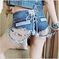 Womens Sexy plus size calças de brim do furo shorts 2017 algodão Verão quebrado buraco lace-up shorts jeans Skinny jeans calças curtas para senhoras