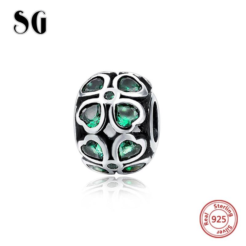 Green Zircon Hearts shape Berloques Fit Authentic pandora charms silver 925 original Antique Bracelet pandora Pendant Jewelry