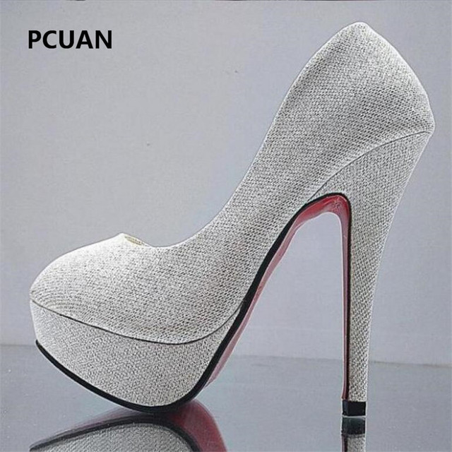 Bridal shoes wedding shoes ladies waterproof platform shallow mouth round head high heels crystal sequins 11cm high heels 35-41 1