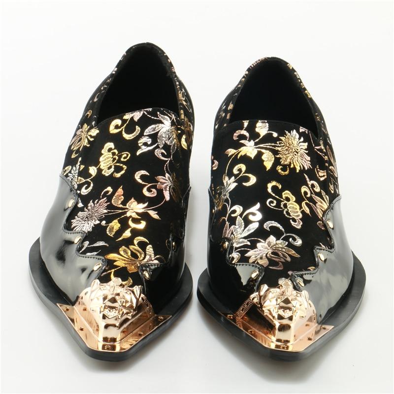 Homem Homens Sapatos Italiano Glitter Print Ouro Dedo Couro Floral Casamento A De Mocassins Negros Vestir Masculinos Do Pé Metálico prwxpqS