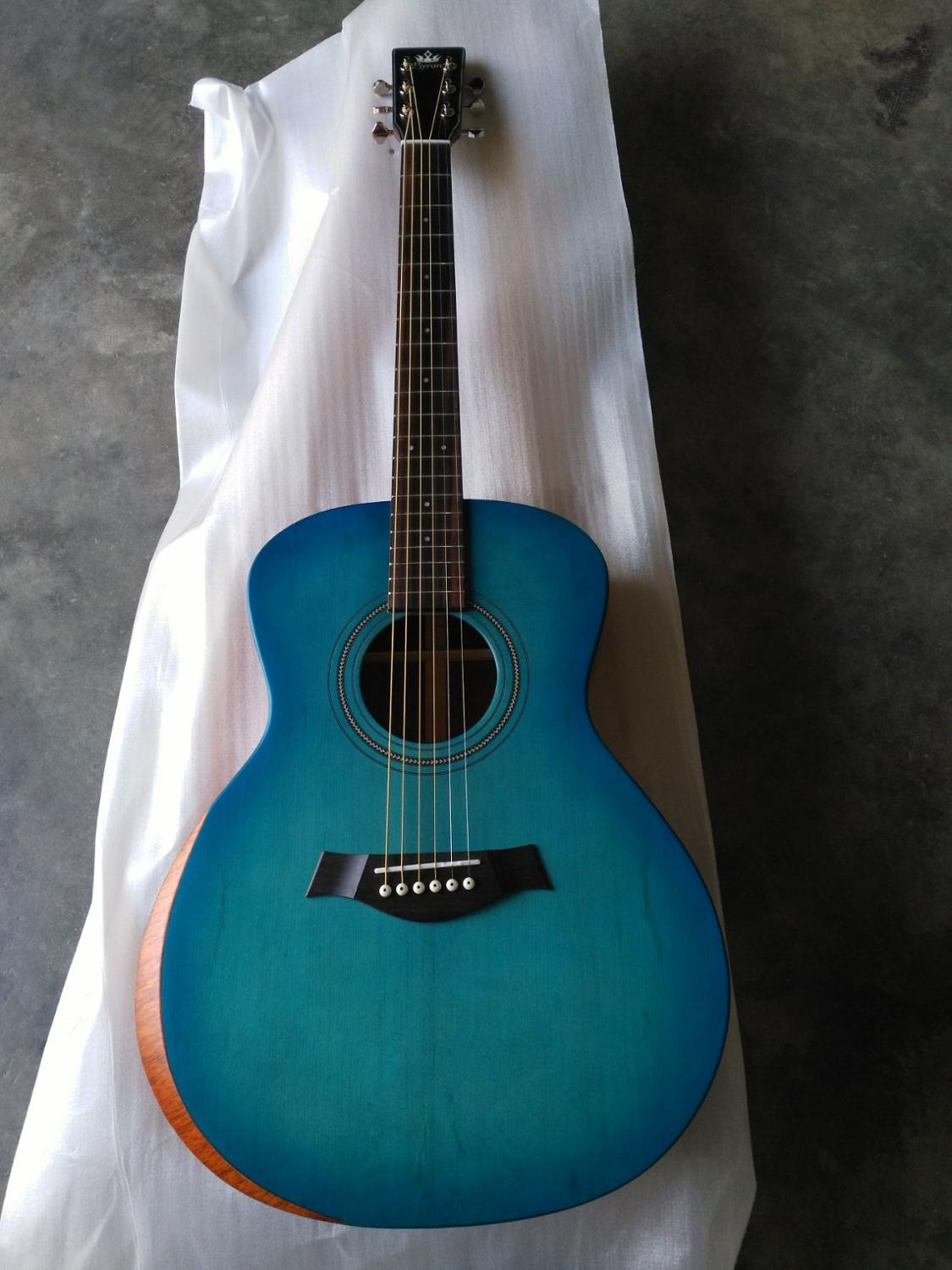 free shipping grand concert solid spruce blue burst ooo body satin finishing acoustic guitar. Black Bedroom Furniture Sets. Home Design Ideas