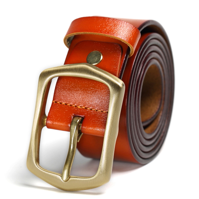 Free shipping 100% Cowhide Genuine Leather Belts for Men Brand Design Strap Male Pin Buckle Fancy Vintage Jeans Cowboy Cintos
