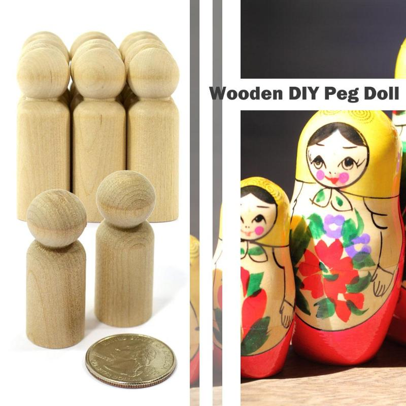 5/10pcs 5PCS DIY Wood Doll Unpainted Cute Family Peg Dolls Handmade Birthday Gifts Wedding Cake Decorative Doll Home Decoratio