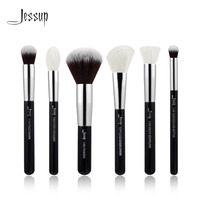 Jessup Black Silver Professional Makeup Brushes Set Make Up Brush Tools Kit Buffer Paint Cheek Highlight