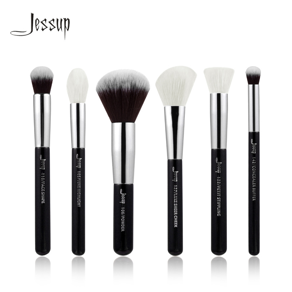 Jessup Black/Silver Professional Makeup Brushes Set Make up Brush Tools kit Buffer Paint Cheek Highlight natural-synthetic hair