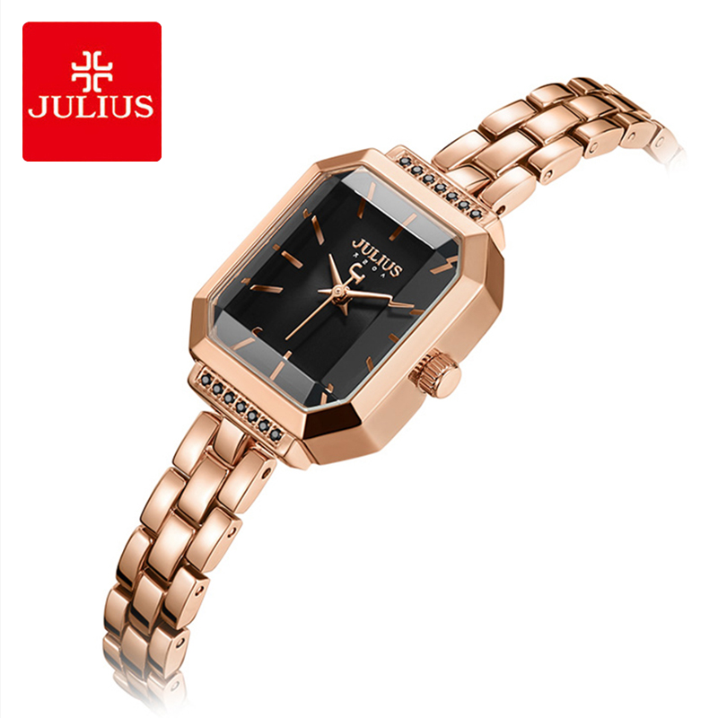 Julius Brand Lady Luxury Square Stainless Steel Bracelet Watch Diamond Cutting Table Mirror Dress WristWatches Woman Reloj