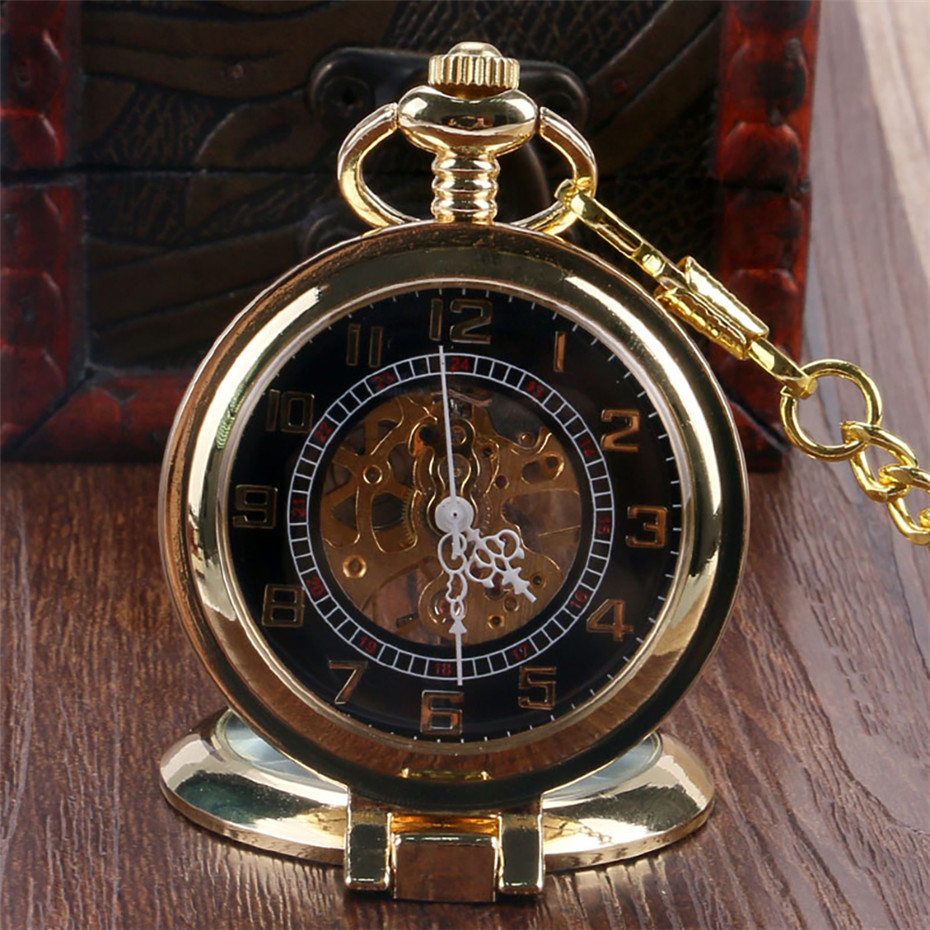 Transparent Glass Window Golden Hunter Arabic Numerals Display Hand Winding Mechanical Pendant Clock Punk Chain Retro Gifts