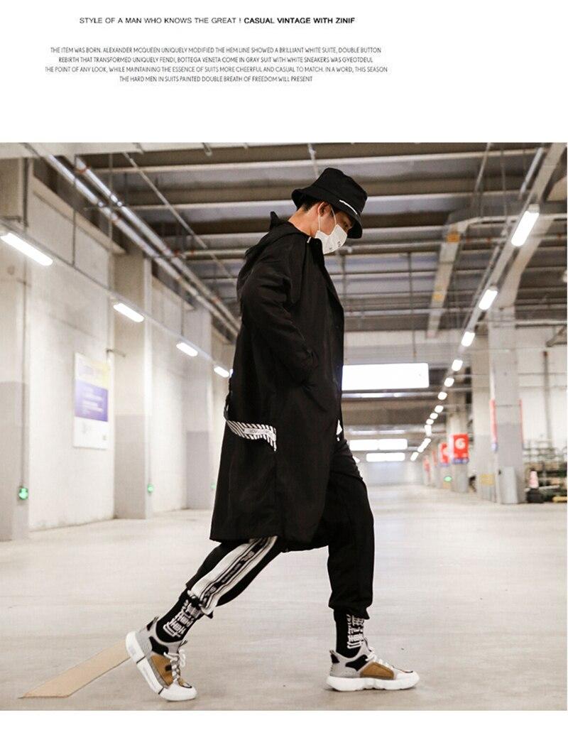 Long Men Trench Coat Casual Spring 2018 Slim Fit white Mens Hood Street South Korea Clothing (7)