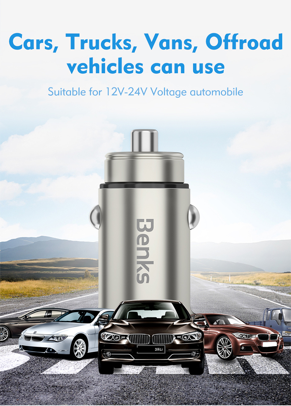 Benks Dual USB Port Quick Car Charger Lighting For iPhone X 10 8 7 Huawei Samsung Galaxy S7S6 Unviersal 4.8A Fast Auto Charger (6)
