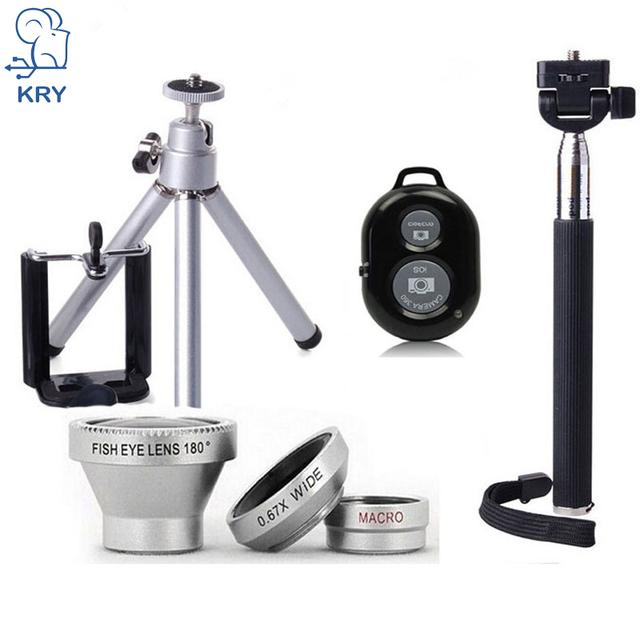 Kry 3 en 1 ojo de pez ojo de pez lentes selfie monopod trípode palo lente para iphone 7 lente obturador bluetooth iphone 6 6 s 5S 5 lente