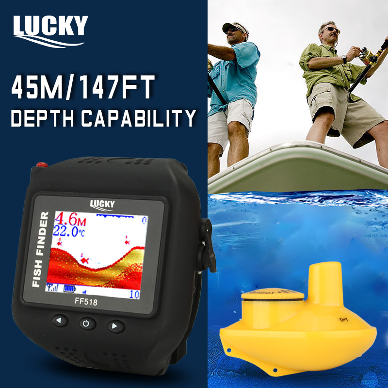 Lucky Fishing Supplies Fish Finder Ff518 Wireless Fishfinder Wrist Waterproof Built-in Battery Sonar Detection Free Shipping эхолот часы lucky ff518