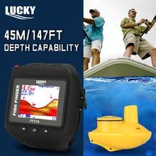 Lucky Рыбная ловля поставки Рыболокаторы Ff518 Беспроводной Fishfinder наручные Водонепроницаемый встроенный Батарея Sonar обнаружения Бесплатная доставка