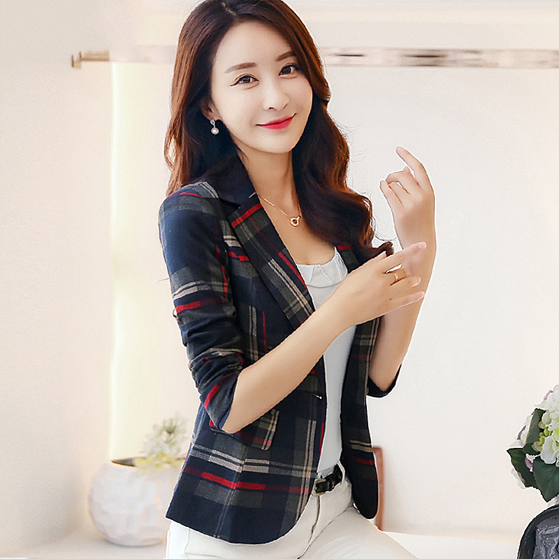 High quality suit female 2018 spring new lattice temperament women short jacket Slim suit long-sleeved plaid small suit