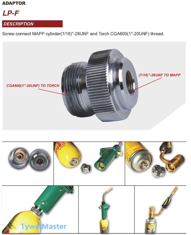Adaptor CGA600 to 7/16-28UNF for Braze Welding Torch MAPP Propane Gas Torch Heating Solder Burner adaptor Catridge