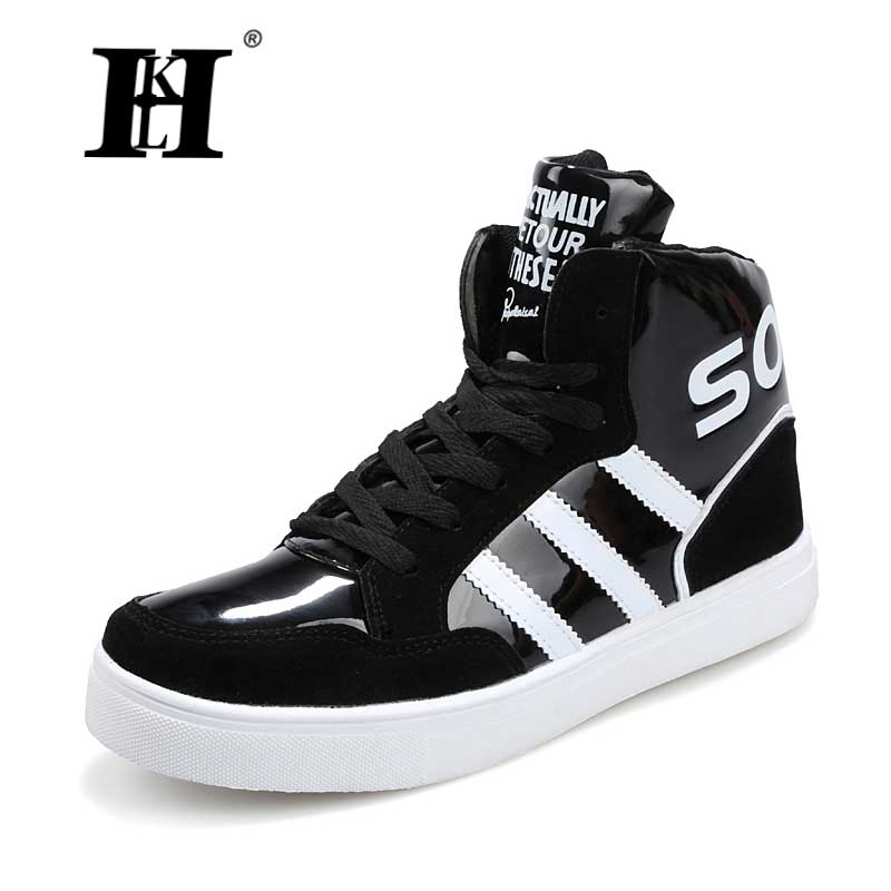 ФОТО 2017 High Tops men's shoes Mens Casual Shoes White Black Red Lace Up Leather Boots PU student Hook & Loop Red White  Skate shoes