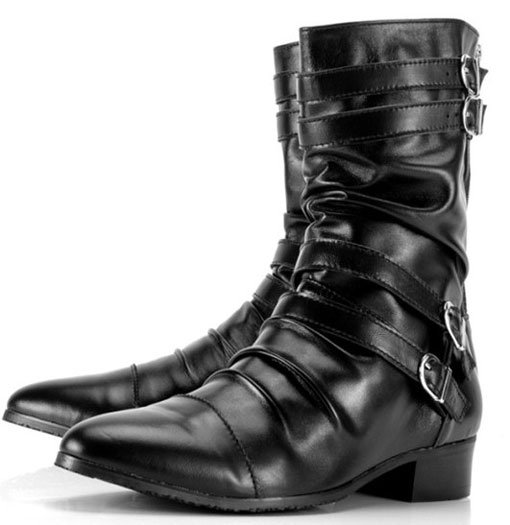 Men's Fashion Genuine Leather Pointed Toe Rear Zip Straps Attached ...
