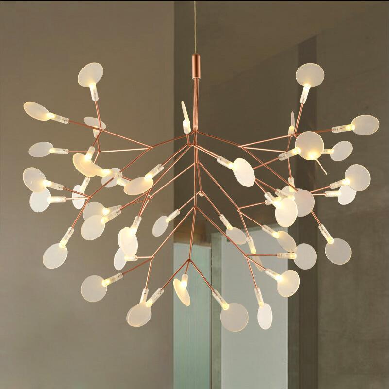 Creative Art Designer LED Lustre De Luxe Feuille D'arbre Moderne Pendentif Lampes Déco Lustres Pour Salle À Manger Salon Maison de Chambre À Coucher