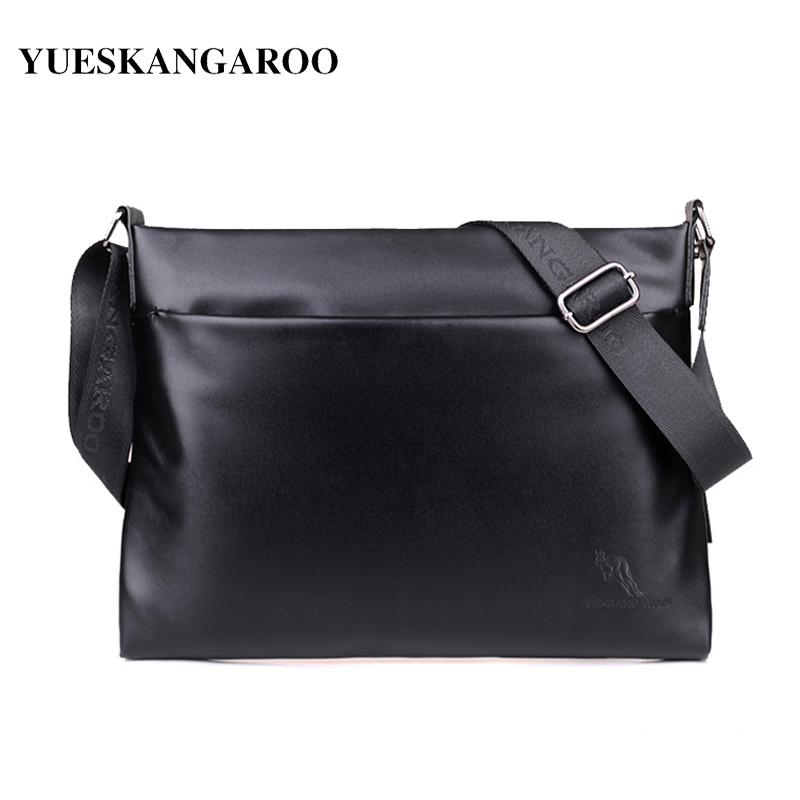 YUES KANGAROO High Quality Men's Messenger Bag Soft leather Crossbody Shoulder Bags Brand A4 Document Business Briefcase Handbag yues kangaroo brand men bag leather casual high quality shoulder crossbody bags classical business briefcase mens messenger bag