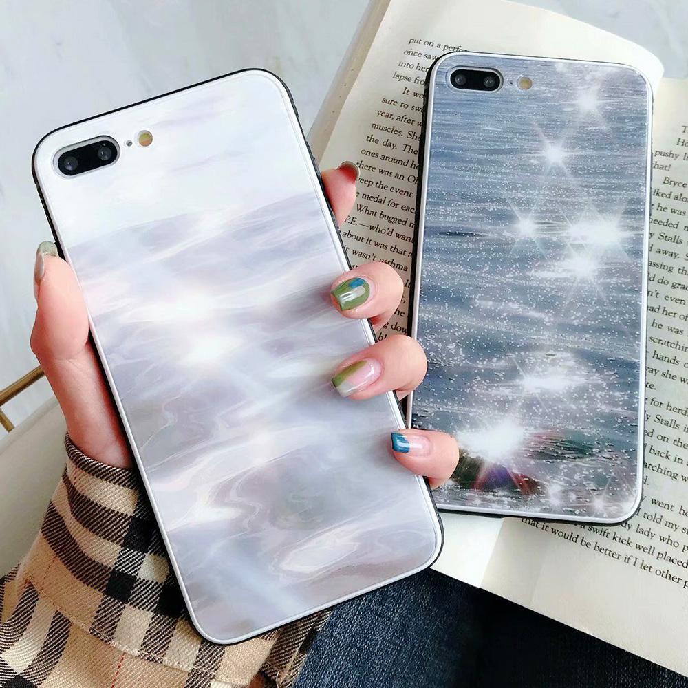 KIP7P1343_2_JONSNOW Phone Case for iPhone 7 Plus 8 6 6S X XR XS Max Tempered Glass Back Cover Anti-slip Soft Edge All-inclusive Protect Case
