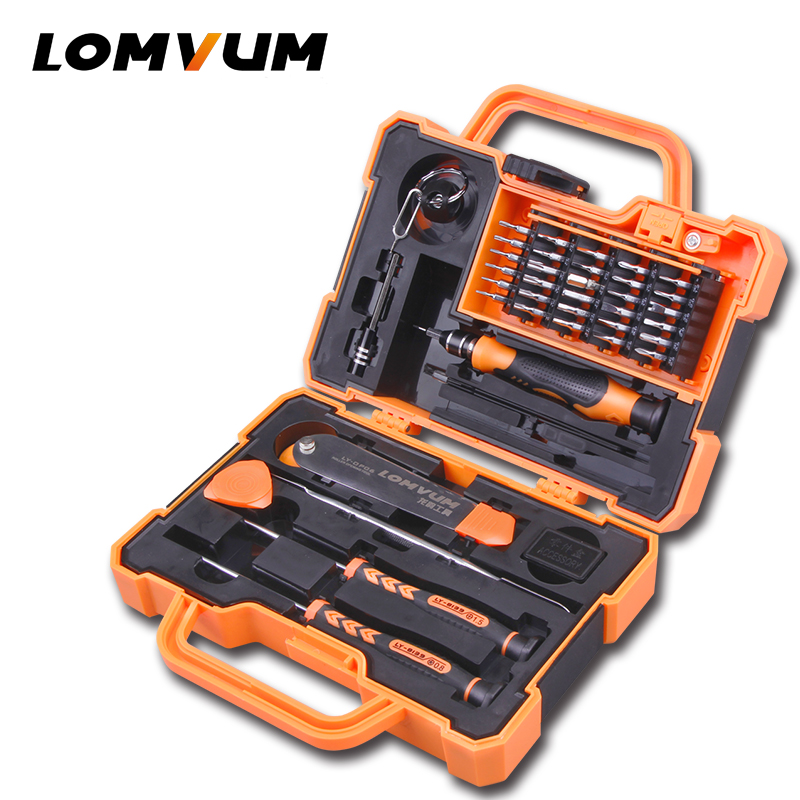 LOMVUM Hand Tool Set Household Mobile Phone Repair Tool Kit Toolbox Case Socket Precision Mini Magnetic Screwdriver Set
