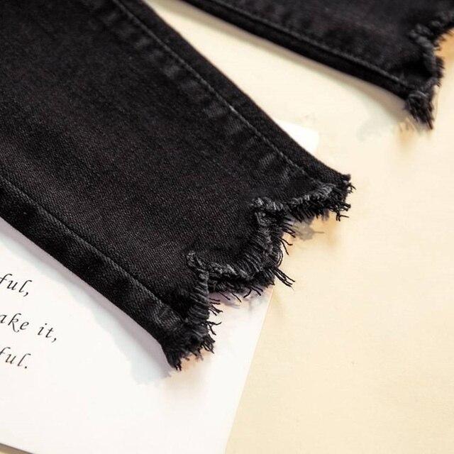 Women Denim Pants Black Color Donna Stretch Bottoms Feminine Skinny Pants Trousers 5