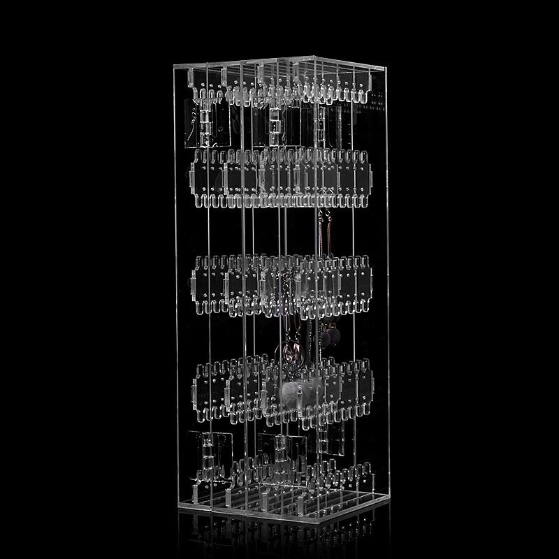 New 256 Holes Foldable 4 Panel Clear Makeup Jewelry Organizer Holder Earring Stud Necklace Bracelet Storage Stand Display