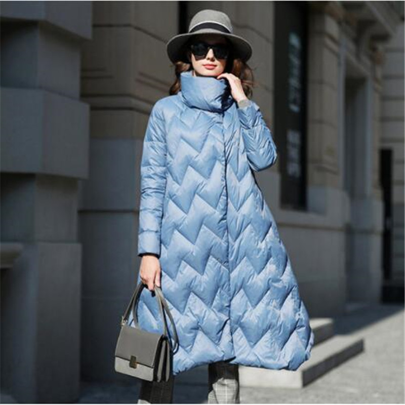 High quality duck   down     coat   women 2018 winter   coat   female high street asymmetric length long   down   parka fashion collection