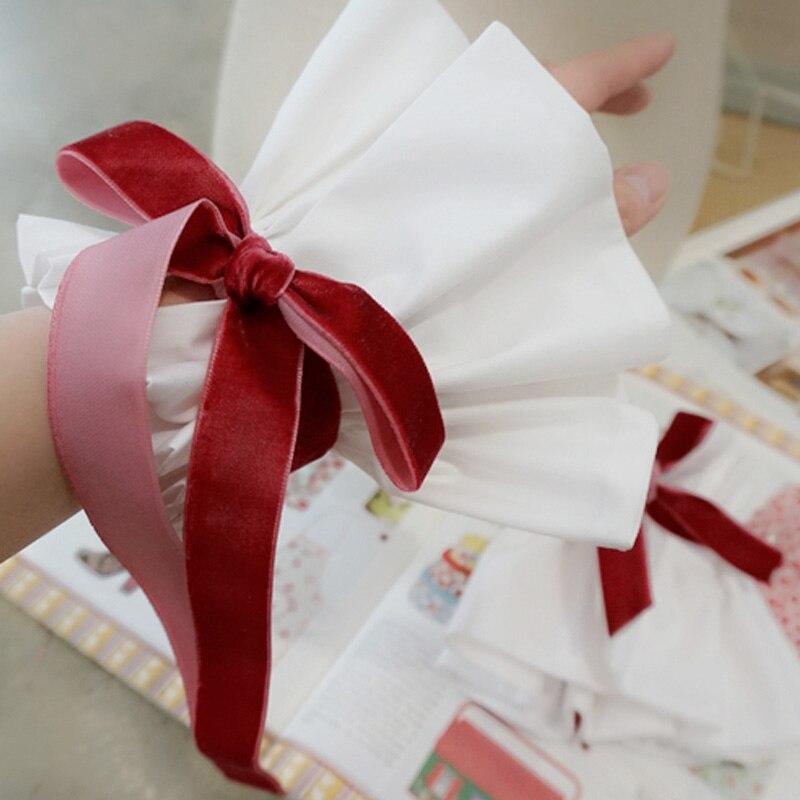 Diplomatisch Mode Romantische Dekorative Gefälschte Kragen Manschetten Abteilung Chiffon Crest Cherry Red Samt Bowknot Verziert Falsche Kragen Manschetten Bekleidung Zubehör