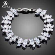 AZORA Oro Blanco Color de La Flor Diseño Claro Cúbicos Circonia Pulsera TS0119