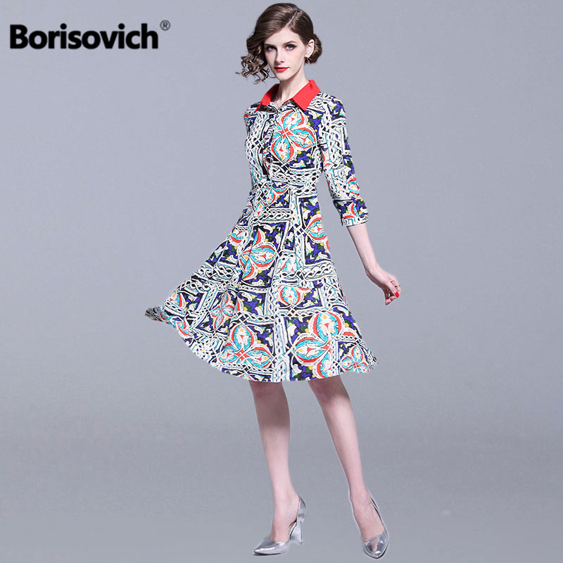Borisovich Vintage Print Women Casual Dress New 2019 Spring Fashion Turn down Collar Knee length Female