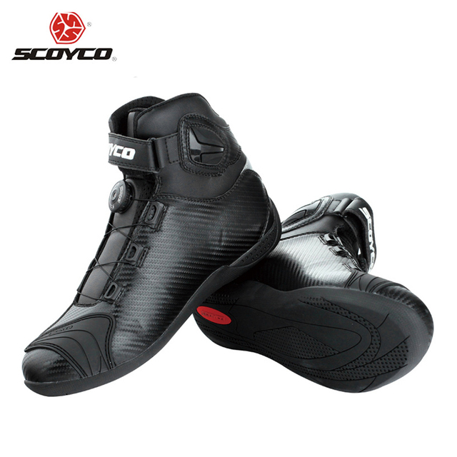SCOYCO Black leather Motocross  Ankle Boots Motorcycle Touring Riding Boots Shoes with PP Shell Protection ATOP Buckles