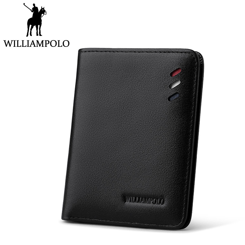 WilliamPolo Men Slim Wallet Leather Small Purse Mini Wallet Genuine Leather Pouch Male Classic Design Ultra Thin Cowhide Purse williampolo metal mini wallet men leather slim bifold purse pouch front pocket real leather purse short small wallet male pl189