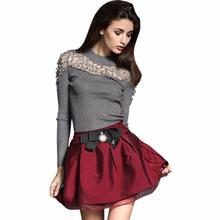 New fashion high quality Viscose Material Women Slim High Collar Lace Knitting Sweater Long Sleeve Blouse POLO Shirt Vicky