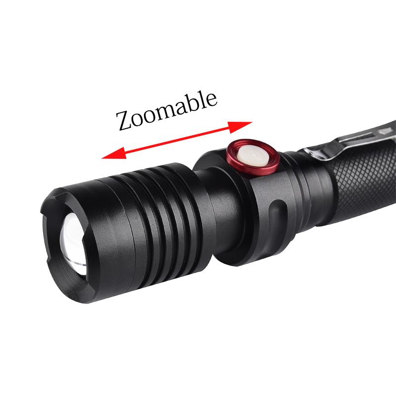 3800Lumens XML T6 USB LED Flashlight Torch Rechargeable Flash Light 18650 Tactical torch linterna Zoomable Lighting
