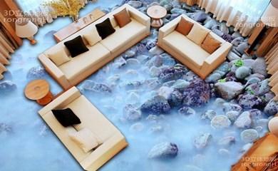 Wohnkultur 3D Boden Fliesen Wohnzimmer Schlafzimmer 3D Pvc Boden Bad  Benutzerdefinierte Druck Foto Strand Steine Bodenbelag