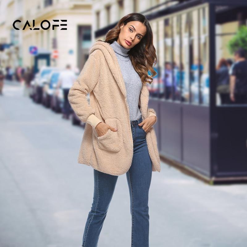 Calofe Faux Fur Teddy Bear Coat Jacket Women Fashion Open Stitch Winter Hooded Coat Female Long Sleeve Fuzzy Jacket Hot New