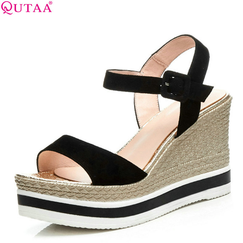 QUTAA 2018 Women Pumps Kid Suede Fashion Casual Women Shoes Round Oe Wedges Heel Elegant Platform Women Pumps Size 34-39 elegant women s pumps with suede and slingback design