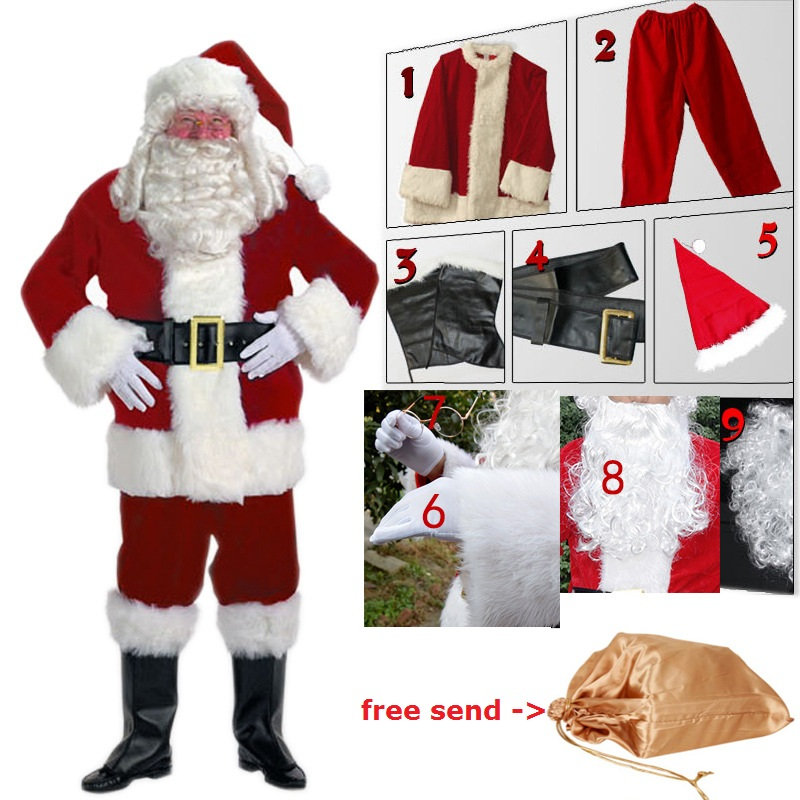 Anime Cosplay for Santa Claus Set with Christmas Hat Glasses Bag ...