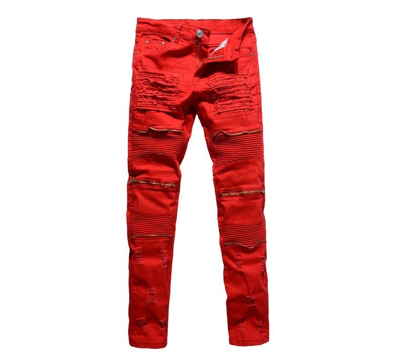 GMANCL Red White Black Men Biker Knees Zipper Denim Ripped Jeans Slim Fit Skinny Straight Trousers Punk Hip Hop Pants for Men 2017 fashion patch jeans men slim straight denim jeans ripped trousers new famous brand biker jeans logo mens zipper jeans 604