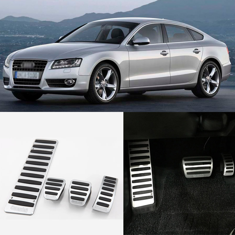 Brand New 4pcs Aluminium Non Slip Foot Rest Fuel Gas Brake Pedal Cover For Audi A5 2008-2016 MT brand new 3pcs aluminium non slip foot rest fuel gas brake pedal cover for mazda 3 at 2011 2015