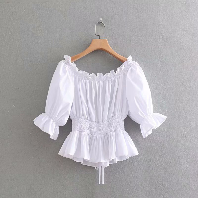 Leo Grand women solid color blouses slash neck flare sleeves shirts ruffles pleated design casual tops blusas mujer 901183