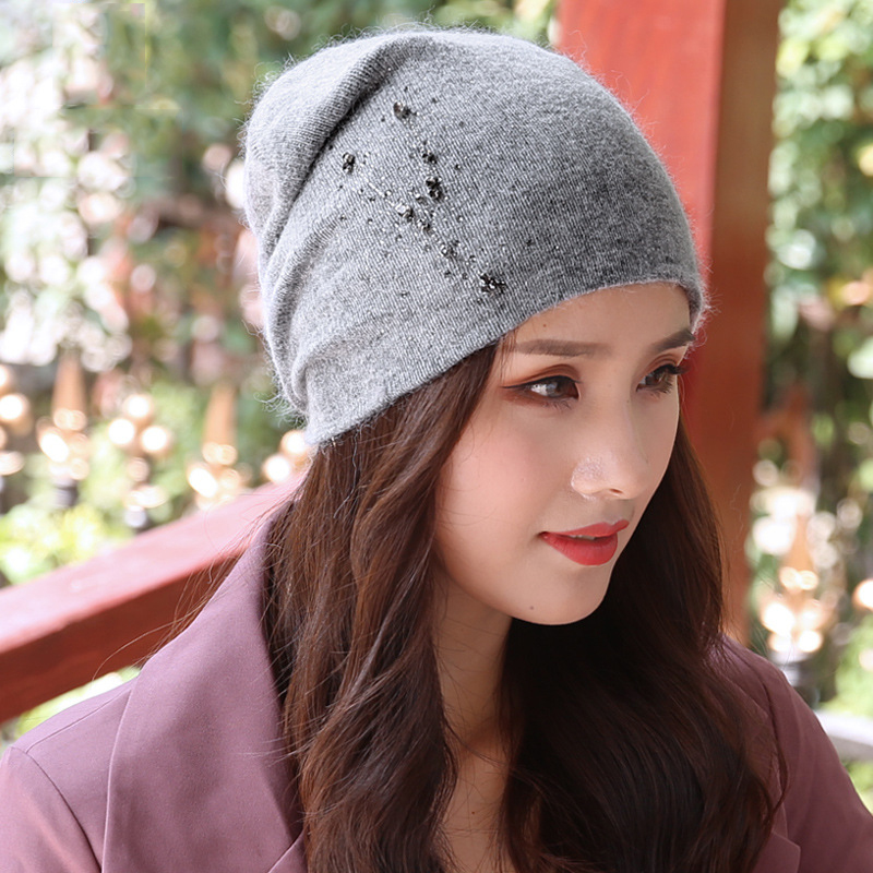 Beanie Women Winter Angora Knit Hat Warm Rhinestone Headwear  Soft Casual Slouch Stretchy Outdoor Ski Accessory (3)