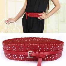 Hot Women Wide Belt 2015 Fashion Hollow Out Flower PU Leather Vintage Waist Belts for Women 6CM Width