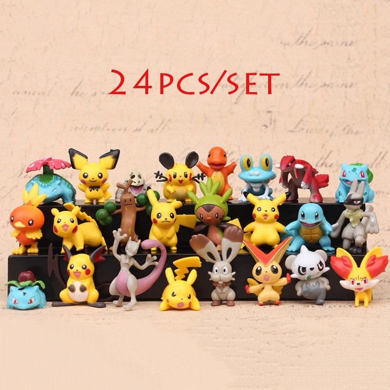 New Generation 24pcs/set 4-5cm Decoration Cartoon Action Figure Kids Toys for Children Gifts Anime pokemones Action Figure Toys 15 5cm anime figure lilo